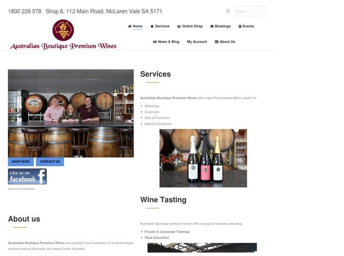 Australian Boutique Wines Website