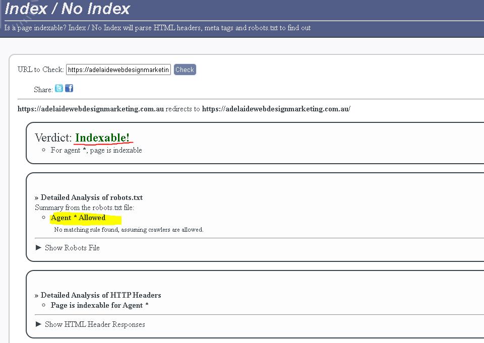 Website index tool